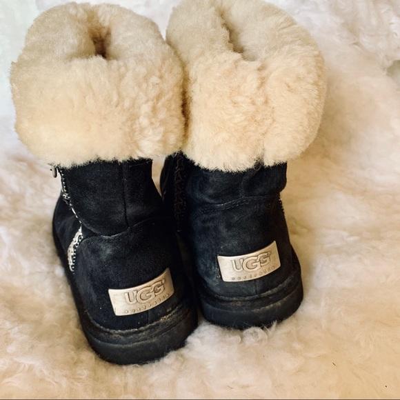 UGG Shoes | Ugg Black White Fur Boots